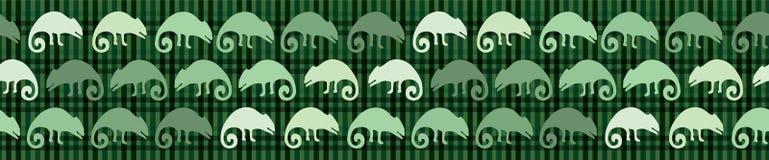 Naadloos de grenspatroon van de kameleonhagedis Groene reptiel herhaalbare vectorillustratie royalty-vrije illustratie