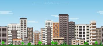 Naadloos de grenspatroon van de stadshorizon met high-rise huizen en groene bomen royalty-vrije illustratie