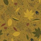 Naadloos de herfstpatroon in gouden kleuren stock illustratie