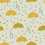 Naadloos de herfstpatroon met paraplu Royalty-vrije Illustratie