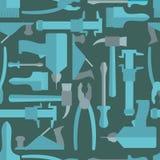 Naadloos de hulpmiddelenpatroon van de Bouwhand Vector illustratie Stock Foto's