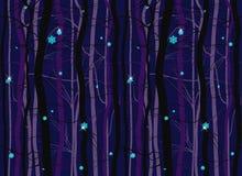 Naadloos de nachtpatroon van de winter houten bostakken stock illustratie