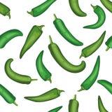 Naadloos de peperpatroon van Chili Tegel groen plantaardig patroon veg Stock Fotografie