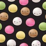 Naadloos de rijstdessert van patroon Japans mochi Stock Afbeeldingen