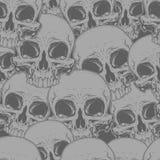 Naadloos de tatoegeringspatroon van de verschrikkings grijs schedel Stock Afbeeldingen