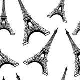 Naadloos de toren van Eiffel patroon als achtergrond Stock Afbeelding
