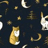 Naadloos de winter dierlijk patroon stock illustratie