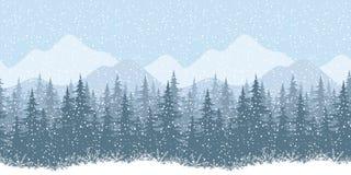 Naadloos de winterlandschap met sparren Stock Foto
