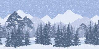 Naadloos de winterlandschap met sparren Royalty-vrije Stock Foto