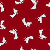 Naadloos de Winterpatroon, Kerstmisengel stock illustratie