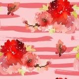 Naadloos de zomerpatroon met waterverfbloemen Stock Afbeeldingen
