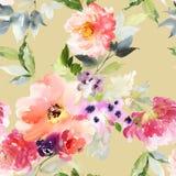 Naadloos de zomerpatroon met waterverfbloemen Stock Afbeelding