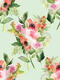 Naadloos de zomerpatroon met waterverfbloemen Stock Foto
