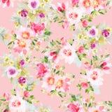 Naadloos de zomerpatroon met waterverfbloemen Royalty-vrije Stock Afbeelding