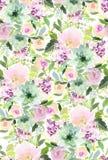 Naadloos de zomerpatroon met waterverfbloemen royalty-vrije stock foto