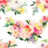 Naadloos de zomerpatroon met waterverfbloemen royalty-vrije stock fotografie