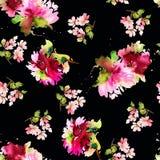 Naadloos de zomerpatroon met waterverfbloemen Stock Foto's