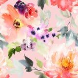Naadloos de zomerpatroon met waterverfbloemen Stock Fotografie