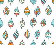 Naadloos decoratief patroon met bladeren Stock Afbeelding