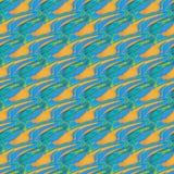 Naadloos diagonaal golvend lijnen oranje blauw turkoois Stock Afbeeldingen
