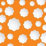 Naadloos die Bloemendocument op de Oranje achtergrond wordt gesneden Stock Fotografie