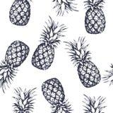 Naadloos die patroon met ananassen, hand in grafische stijl wordt getrokken Vector illustratie stock illustratie