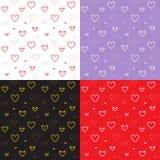 Naadloos die patroon met de harten van de mozaïekvalentijnskaart ` s wordt geplaatst Stock Afbeelding