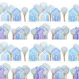 Naadloos die patroon met de winterhuizen met kleurpotloden worden getrokken stock illustratie