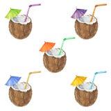 Naadloos die patroon met kokosnotencocktail, in waterverf wordt geschilderd V Stock Foto