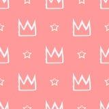 Naadloos die patroon met kronen en sterren met een borstel worden geschilderd Stock Fotografie