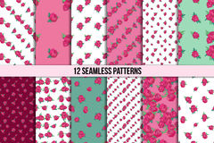 Naadloos die patroon met roze pioenen wordt geplaatst Stock Foto