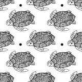 Naadloos die patroon met zeeschildpad in ge?soleerde de stijl wordt getrokken van de lijnkunst stock illustratie