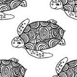 Naadloos die patroon met zeeschildpad in ge?soleerde de stijl wordt getrokken van de lijnkunst royalty-vrije illustratie