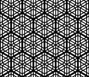Naadloos die patroon op traditioneel Japans die ornament Kumiko wordt gebaseerd, met een zeshoek in zwart-wit wordt geaccentueerd Royalty-vrije Stock Afbeelding