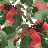 Naadloos die patroon uit rode waterverf wordt samengesteld Royalty-vrije Stock Afbeeldingen