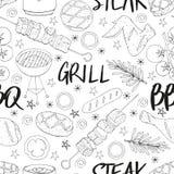 Naadloos die patroon van BBQ elementen wordt gemaakt stock illustratie