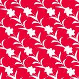 Naadloos die patroon van bloemsilhouetten op een rode achtergrond worden ineengestrengeld Wit bloemenornament vector illustratie