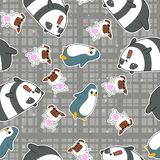 Naadloos 4 dierenpatroon vector illustratie