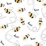 Naadloos dierenpatroon met hand getrokken bijen Stock Foto