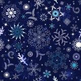 Naadloos donkerblauw Kerstmisbehang Stock Foto