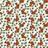 Naadloos eekhoornpatroon Royalty-vrije Stock Afbeeldingen