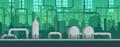 Naadloos eindeloos industrieel postapocalyptic spel vector illustratie