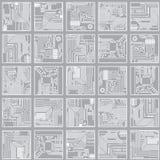 Naadloos elektronisch patroon. De beer van de computerkring Royalty-vrije Stock Foto