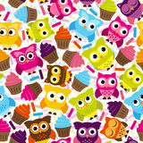 Naadloos en Tileable Vectorowl background pattern Stock Foto