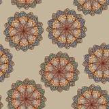 Naadloos etnisch bloemenpatroon Stock Afbeelding