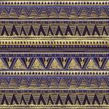 Naadloos Etnisch Geometrisch Gebreid Patroon Violet Yellow Blue Horizontal Seamless-Achtergrondvector Stock Foto