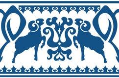 Naadloos etnisch ornament met gestileerd aries Stock Foto