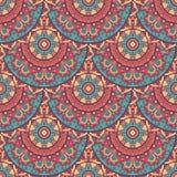 Naadloos etnisch patroon met mandala Stock Fotografie