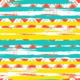 Naadloos etnisch zigzagpatroon met penseelstreken Royalty-vrije Stock Afbeeldingen
