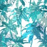 In naadloos exotisch patroon met palm, tropische installaties en hand getrokken texturen Modern abstract ontwerp voor document Royalty-vrije Stock Foto